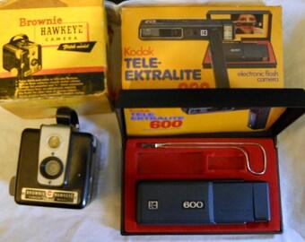 Vintage Cameras - Brownie Hawkeye & Kodak Tele-Ektralite 600 - LOT