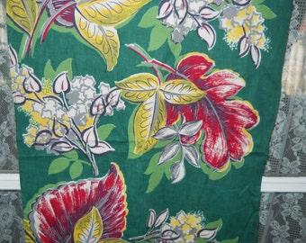 1940's Vintage Cotton Curtain Panels - Green Floral