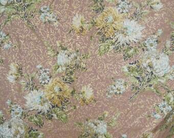 Vintage Floral with Gold Flex Barkcloth - Min Order 2 yds