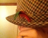 Herringbone wool & polyester fedora with great feather accents
