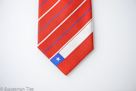 Chile Tie - Inspired by the Chilean Flag with Personalized Tag.