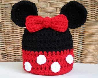 Disney Inspired Minnie Mouse Ears Crochet Hat with Bow in Red or Pink, Newborn through Adult Sizes, photo prop