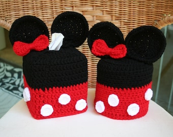SALE Disney Minnie Mouse Crochet Tissue Box and Toilet Paper Roll Cover Set