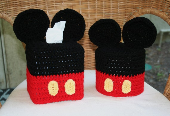 SALE Disney Mickey or Minnie Mouse Crochet Tissue Box and Toilet Paper Roll Cover, Disney Decor
