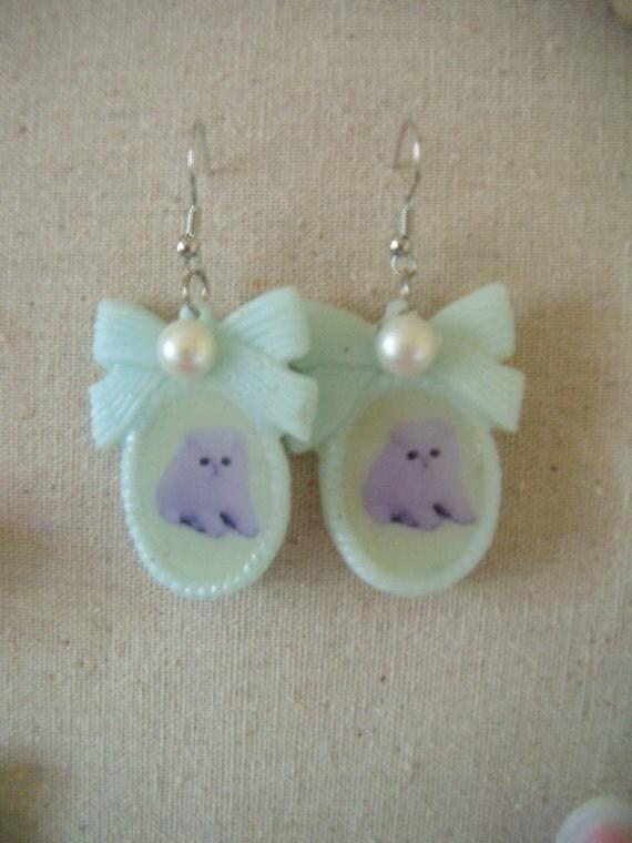 Purple Kitty Cameo Earrings