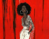 """Print of an Original painting,""""Gina """" black woman vintage retro style fashion signed by artist N. Collins"""