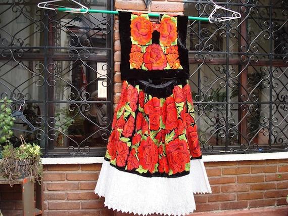 Black Velvet Floral Tehuantepec Traje (matching huipil and skirt)