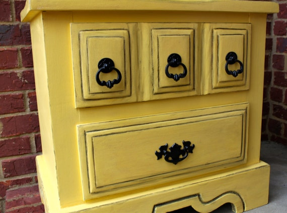 Distressed Nightstand Side End Table Yellow by AquaXpressions