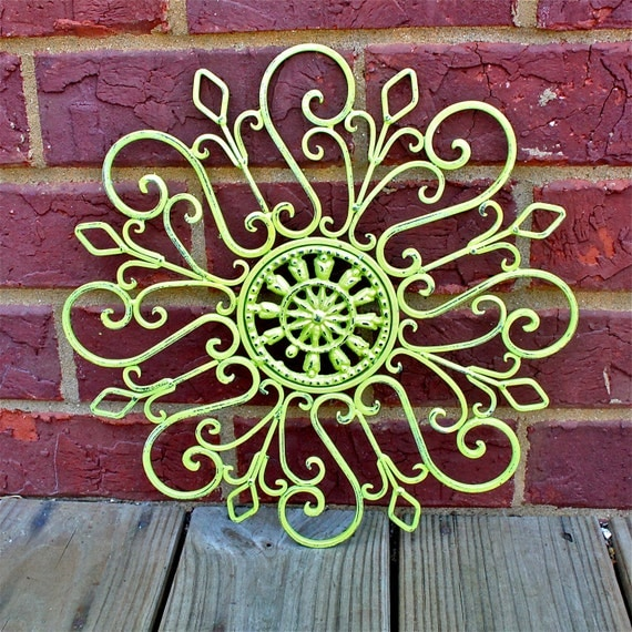 Distressed Metal Wall Decor : Items similar to metal wall decor lime green distressed
