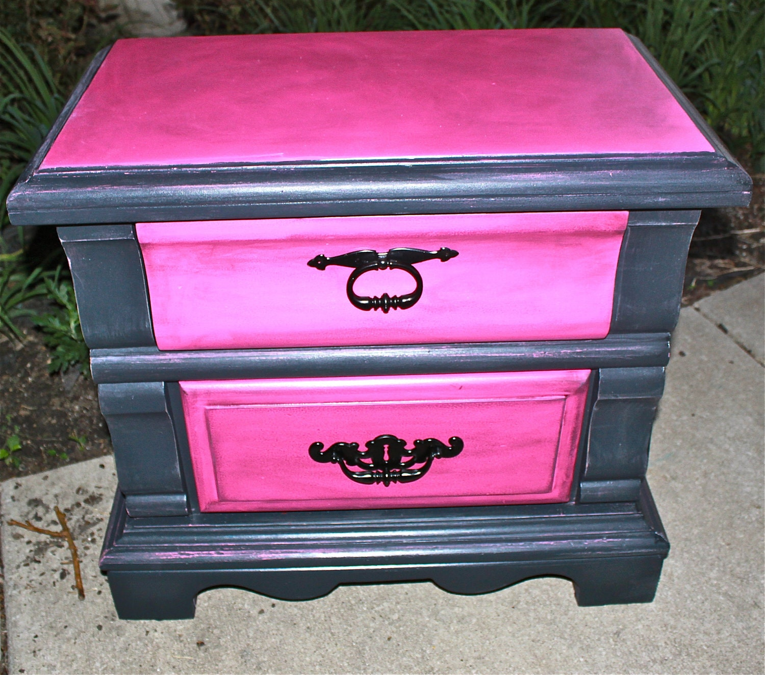 vintage nightstand pink black distressed by aquaxpressions