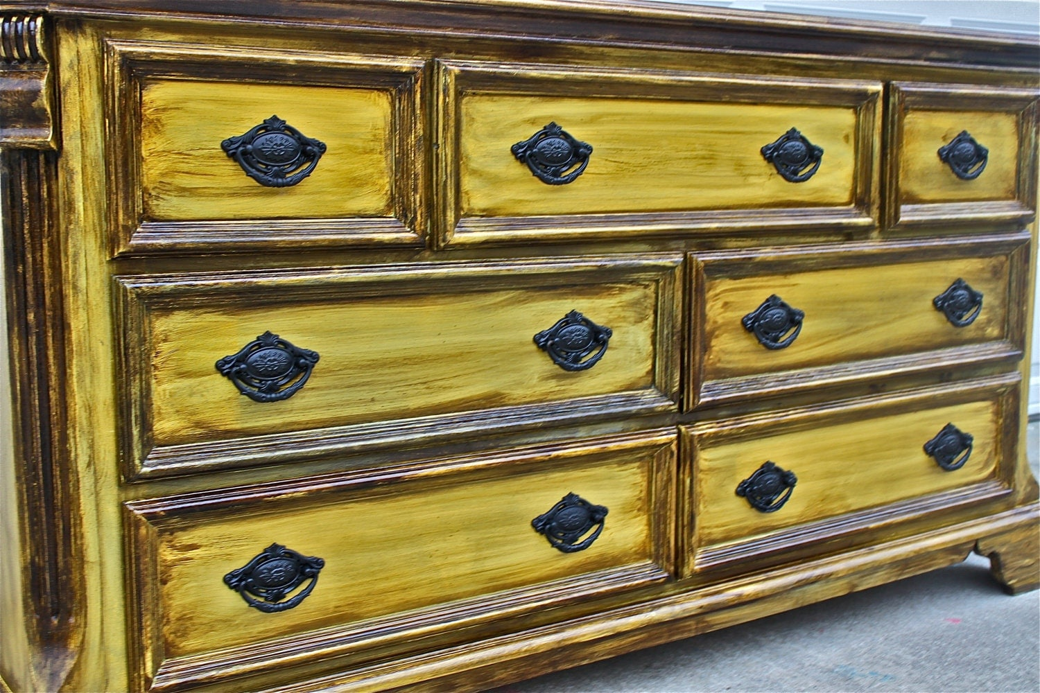 Yellow Vintage Dresser/ Buffet/ Bedroom By AquaXpressions