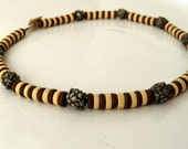 BEADED NECKLACE SALE % Unisex Royal - brown and  ivory handcrafted ceramic discs, silver - plated beads and pendants on leather