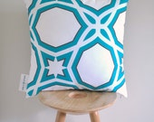 Teal Spirit Cushion Cover- A geometric pattern in teal and brown