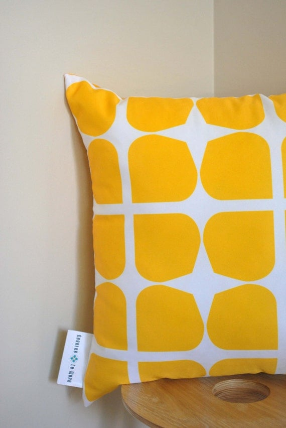 Yellow Gem Cushion Cover- A retro style pattern in a bold yellow