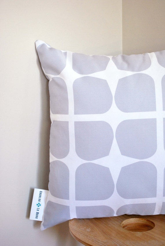 Concrete Gem Cushion Cover- A retro style pattern in a soft grey