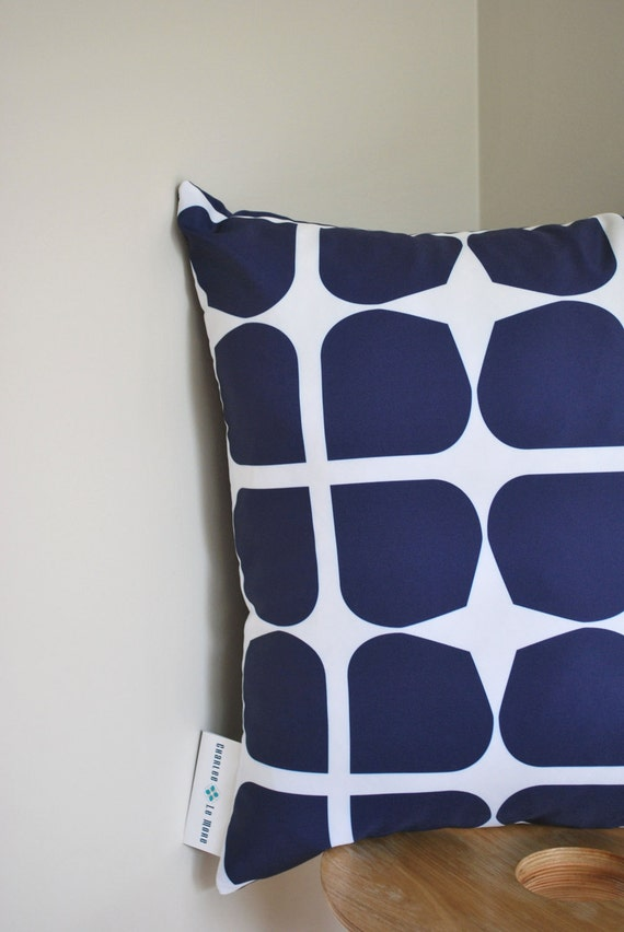 Navy Gem Cushion Cover- A retro style pattern in deep navy blue