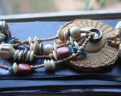 VTG Wicker Basket Tassled Necklace