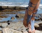 Crochet Barefoot Sandals in Blue - Free Shipping