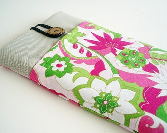 Floral Kindle Sleeve Pocket , Kindle fire sleeve cover, nook cover, Google nexus 7 case