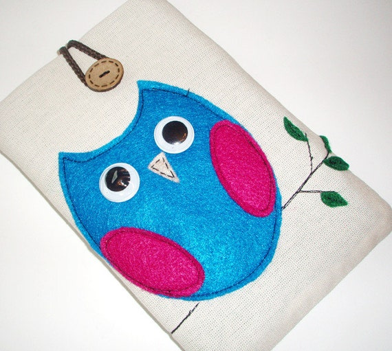 Owl Kindle Sleeve, Kindle fire sleeve cover, nook cover, ereader sleeve.google nexus 7 case