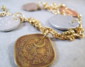 Christmas In July Sale - Fortune Bracelet - Foreign Coins and Vintage Brass