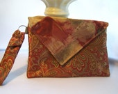 Paisley Clutch in Red, Tan, Gold, Green