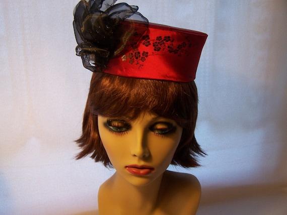Pillbox Hat / Head piece Black and Red Satin Brocade black flower Women