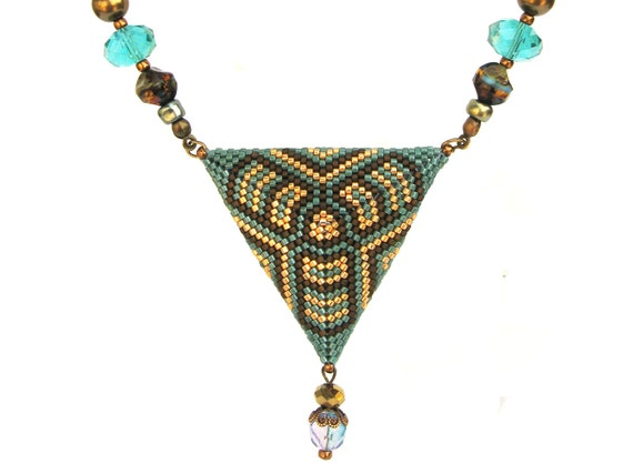 """OOAK Triangle pendant   turquoise """"Indian summer 2""""   Gift under 50"""