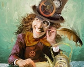 Steampunk Mad Hatter Print on Stretched Canvas
