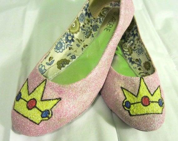 Princess Peach Glitter Shoes