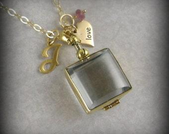 New Mom Jewelry Gift for Grandma Nana Heart Love Glass Locket Keepsake Necklace Personalized Script Inital Birthstone, L12