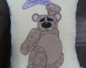 Beary Cute appliqued pillow or cushion - Finished product