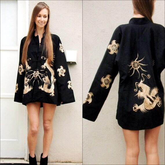 SALE Amazing black kimono style Asian jacket gold dragon embroidery coat gold and black