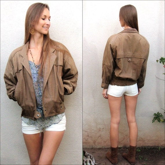 Vintage brown leather coat blazer style small