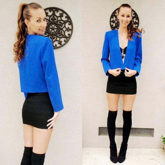 SALE Bright blue 100% wool jacket size 4
