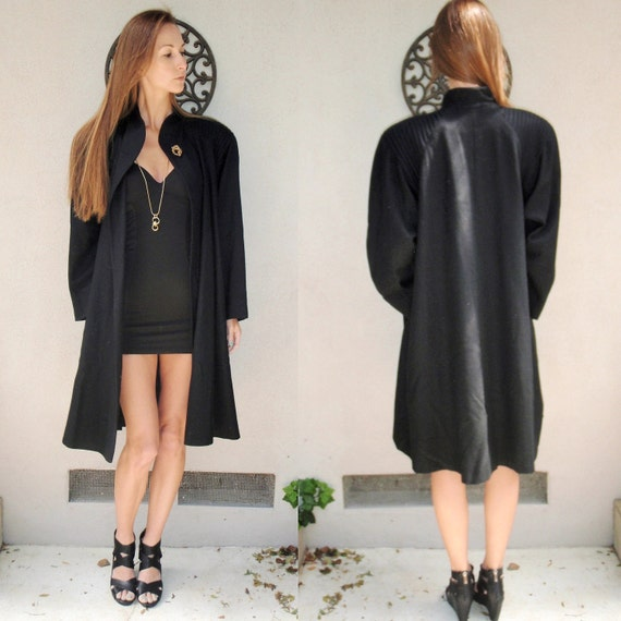 SALE Long black wool one gold button coat w/ large shoulder pads