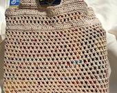 Off White Fleck Crochet Market or Beach Bag