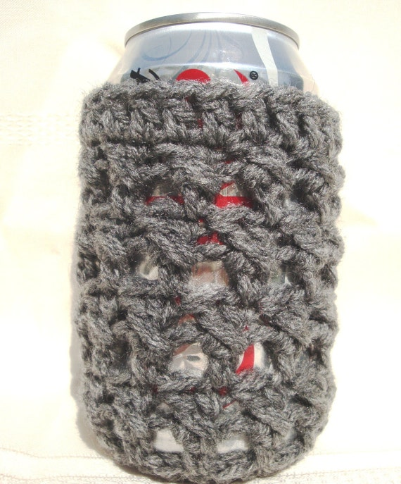 Gray Soda Can and Bottle Cozy