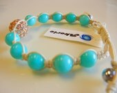 Springtime Arrival:  Amazonite Beads Surround Pave Crystal Center Stone Bracelet