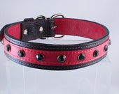 Leather Dog  Collar Hand Crafted Large In Red with Black Crystals ON SALE