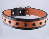 "Leather Dog Collar Custom Made Large 1 1/4"" Wide Orange Sale"
