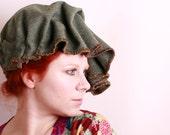 Fedora hat Woman fedora Green fedora Fabric hat Cloche hat Woman cloche Floppy hat Hunter green hat Unique hat Green cloche Green hat