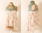 Babydoll top Floral blouse Silk top Camisole Halter top Racerback tank top Green top Ivory Floral top tank top Shabby chic Shirt