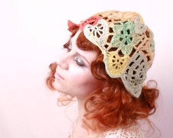 crochet hat woman Crochet beanie Summer hat Yellow crochet hat Woman crochet cap Woman beanie Woman hat Freeform hat Crochet cap