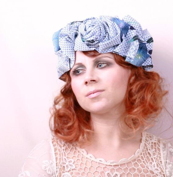 Blue headpiece ON SALE Floral head piece Blue headdress Fabric headband hair crown Large headband Summer headband Upcycled hair accessory