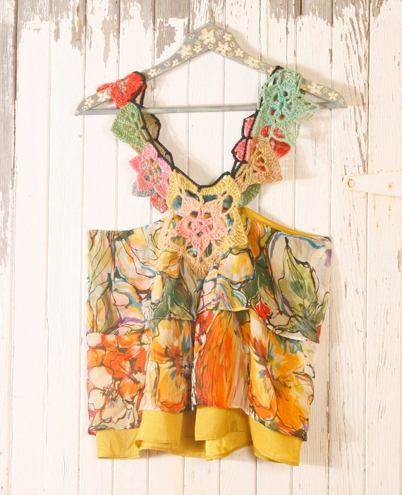 Hippie top Woman Tank  crochet top Racerback tank top Silk top Chiffon top Floral top camisole Yellow top Hippie Gypsy clothing SALE