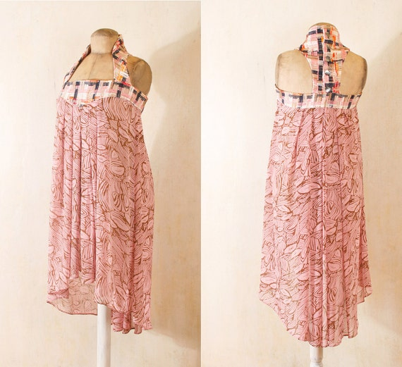 Maxi dress Hippie boho dress Halter dress  Sundress Pink dress Summer dress tank dress Racerback dress Shabby chic Bohemian dress