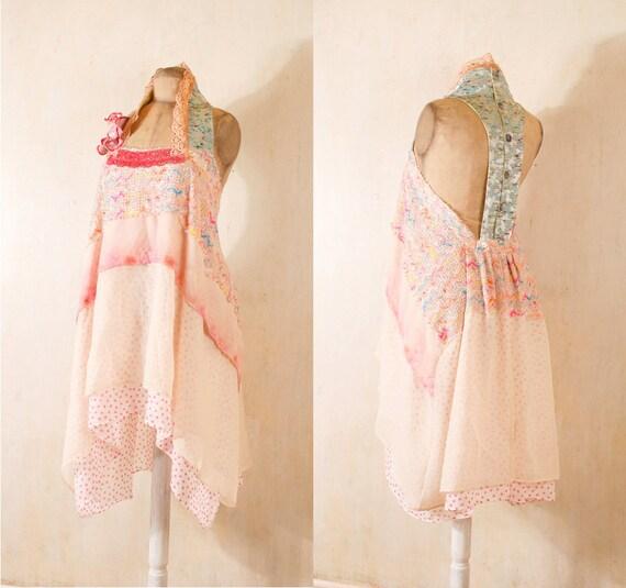 Bohemian wedding dress Beach wedding dress Backless wedding dress Pink dress lace dress Summer dress Halter dress Maxi dress Open back dress