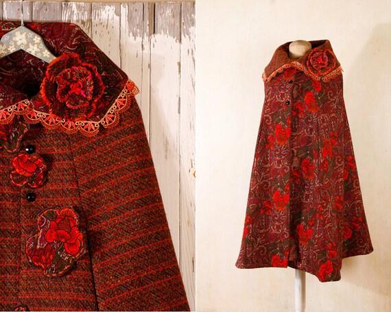 Red Cloak Cape Festival Plaid cape Winter cloak Wool cape Cape coat Winter cape Wool cloak  Russian coat Reversible cloak RESERVED