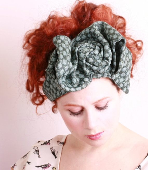 Bow headband Green headband Big headband Turban headband Retro headband Handmade headband Retro turban Winter headband Forest green
